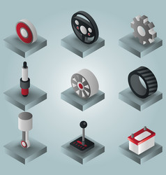 Car part gradient isometric icons vector
