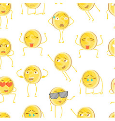 cartoon characters funny golden coins seamless vector image