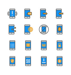 cell phone in colorline icon set vector image