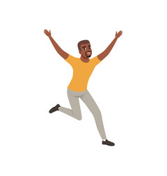 cheerful afro-american man in jumping action with vector image