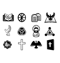 christian icon set vector image