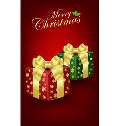 christmas gift box on red background vector image
