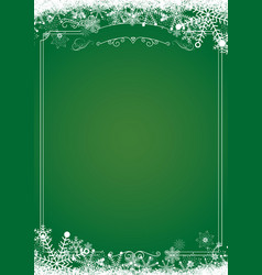 Christmas gradient green with retro border and vector