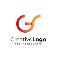 circular initial letter g and s business logo flat vector image