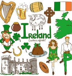 Collection of Irish icons vector image
