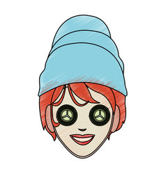 Color pencil cartoon face woman with towel in head vector