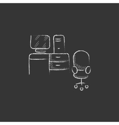 Computer set with table and chair Drawn in chalk vector image