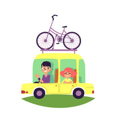 couple family travelling by car with bike on top vector image