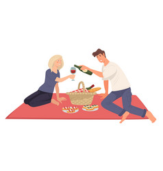 Couple on picnic boyfriend and girlfriend on vector