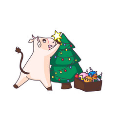 cow decorating christmas tree isolated on white vector image