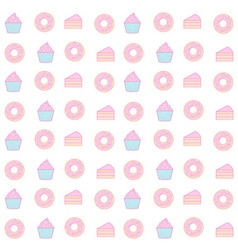 Cupcake and donut seamless pattern pastel color vector