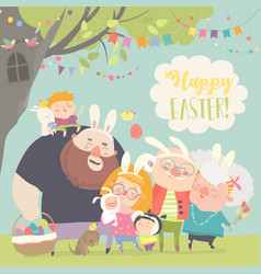 Cute family celebrating easter father mother vector