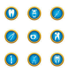 dental pain icons set flat style vector image