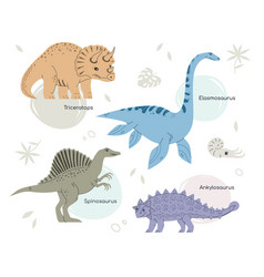 Different dinosaurs - set flat design style vector