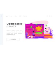 Digital learning landing page template vector