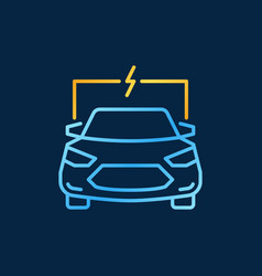 Electric auto or car bright outline icon or vector