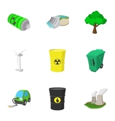 Energy icons set cartoon style vector