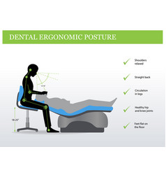 Ergonomics in dentistry correct posture vector