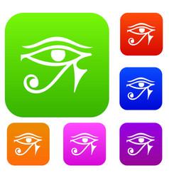 Eye of horus egypt deity set color collection vector