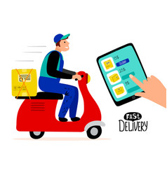 fast paid delivery concept delivery man vector image