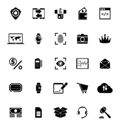 Financial technology icons on white background vector image