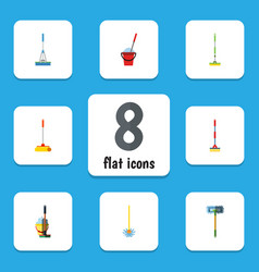 Flat icon broomstick set of besom sweep vector