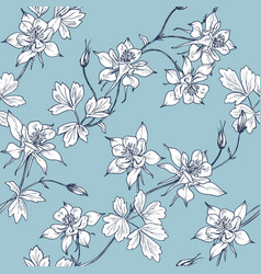 Floral seamless pattern with white aquilegia vector