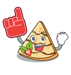Foam finger crepe mascot cartoon style vector