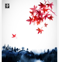 forest trees in fog and red japanese maple hand vector image