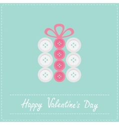 Gift box made from white pink buttons Appligue vector