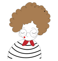 girl with curly brown hair and round glasses on vector image