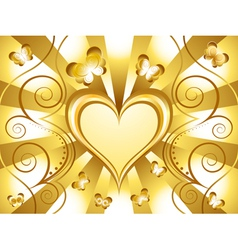 gold heart background vector image
