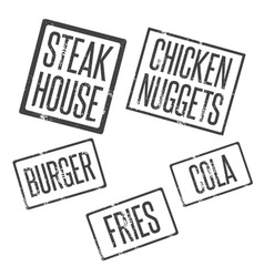 Grunge stamps of fast food theme vector