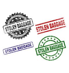 Grunge textured stolen baggage seal stamps vector