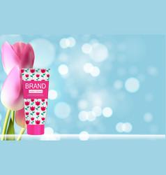 Hand care cream bottle tube template for ads vector