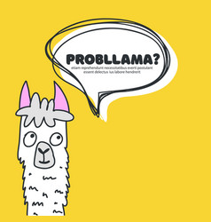 hand drawn funny lama with vector image