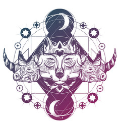 Hand drawn wolf with rhino and planets artwork vector