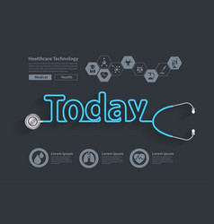 healthy today ideas concept with stethoscope vector image