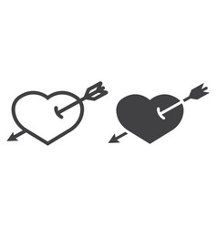 heart pierced with arrow line and glyph icon vector image
