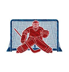 Ice hockey goalie sport player cartoon action vector