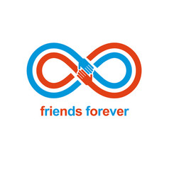 Infinity sign with two hands touching each other vector
