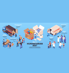 Isometric humanitarian support infographics vector