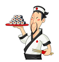 Japanese cook with sushi vector