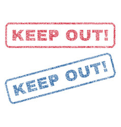 keep out exclamation textile stamps vector image
