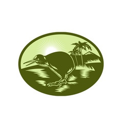 Kiwi bird side view with tree in background vector
