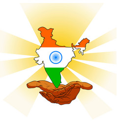 lands in the form of an indian flag over his hands vector image