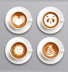Latte coffee art set vector