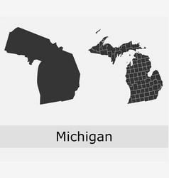 Michigan counties outline vector
