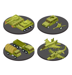 military vehicles isometric icon set with tanks vector image