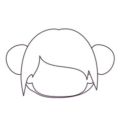 Monochrome silhouette of faceless head of little vector
